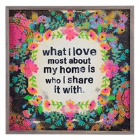 Natural Life 'What I Love Most About My Home - Big Bungalow' Wooden Wall Art - Pink