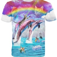 Rainbow Dolphin Kitty T-Shirt