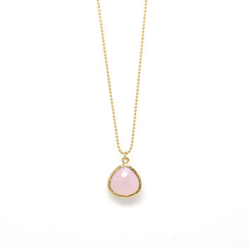 Gold Glass Pendant Necklace II