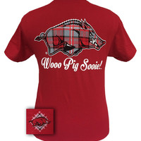 SALE Arkansas Razorbacks Plaid Hogs Logo Girlie Bright T Shirt