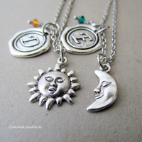 Sun and Moon Two Best Friends Personalized Antique Silver Wax Seal Birthstone Initial, Antique Silver Sun and Moon Necklace