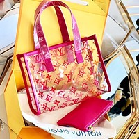 Onewel Louis Vuitton Two-piece Lv KEEPALL beach jelly bag Monogram print Rose red