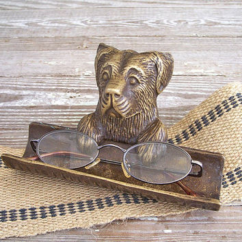 vintage eyeglass holder brass dog tray by KatyBitsandPieces