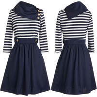 Color Block Striped A-Line Dress