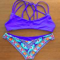 Available Double Face Printed Boho Strap Bikini Set