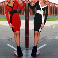 Color Block Long Sleeve Midi Dress