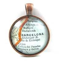 Barcelona, Spain, Pendant from Vintage Map, in Glass Tile Circle