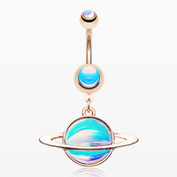 Rose Gold Iridescent Galaxy Planet Belly Button Ring