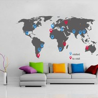 World maps vinyl decal - World Map decal with pins for housewares - Wall Decals , Home WallArt Decals