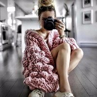 Fashion Fluffy Hollow Knitted Sweater 2018 Autumn Winter Plus size Cardigans Sweaters Women Pink Loose Casual Clothing