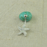 starfish bellybutton rings nautical belly button jewelry,starfish belly rings
