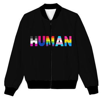 Human - We're all one - LGBTQ Support - Love & Peace Men's Zip Up Jacket