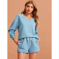 Solid V Neck Top With Knot Shorts PJ Set