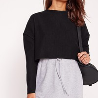 Missguided - Crew Neck Rib Crop Sweat Black