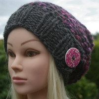 Hand Knit Hat- Women's- Teen- slouchy- beanie- winter hat with big button- women accessories