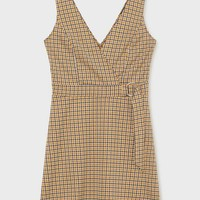 Ochre D-ring Checked Pinafore Dress