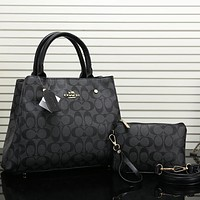 Coach Women Fashion Leather Handbag Tote Satchel Set Two Piece