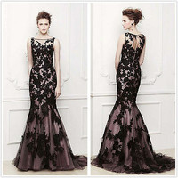 2014 Tulle Appliques Long Mermaid Evening Formal Dress Prom Gowns Party Dresses