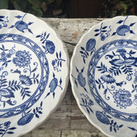 5 Vintage blue and white china dessert bowls, Wood and Sons Blue Fiord berry bowls, Blue onion small bowls, vintage old staffordshire china