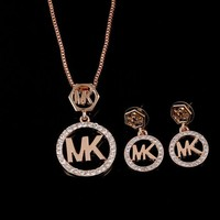 MK Shiny Jewelry Hot Sale Stylish Diamonds Earrings Set Necklace Accessory Gold I