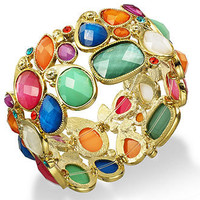 Style&co. Bracelet, Gold-Tone Multi-Color Bead Stretch Bracelet - All Fashion Jewelry - Jewelry & Watches - Macy's