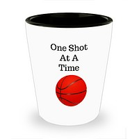 Basketball Shot Glass- One Shot At A Time- Father's Day Birthday Gift- Cool Ceramic Shot Glass