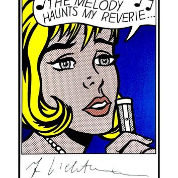 """The Melody Haunts My Reverie..."" Signed Hand Card by Roy Lichtenstein"