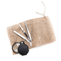 Tweezers Hobby Tool Set With Magnifying Glass, 4 Pieces