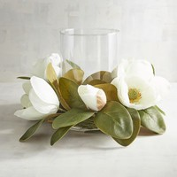 Faux Magnolia Hurricane Candle Holder