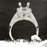 Reserved for ksmiley7778,6x8mm Emerald Cut White Morganite Engagement Ring