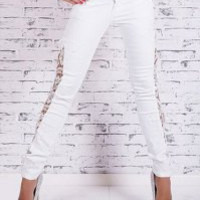 Fashionable Lace Splicing Skinny Jeans For Women