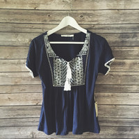 Tillie Tassle Tie Embroidered Top (Navy)