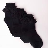 Missguided - 3 Pack Ankle Socks Lace Black