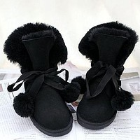 UGG new fashion in the tube, fur ball lace up, wool snow boots, non-slip warm shoes, ladies snow shoes