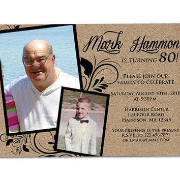 70th Birthday Invitation Man - Male Birthday Invitations - 80th Birthday Invites - 90th Birthday Invitation with Photo - Photo Adult Invite