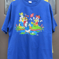 Velva Sheen 80S PLUTO DONALD GOLFING  Mickey Mouse Disney tee shirt adult  xlarge