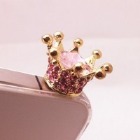 Diamond Crown Bling Ear phone Jack Dock Plug Ear Cap Antidust Plug Stopper for iphone 4 4S