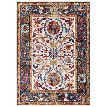 Entourage Samira Distressed Vintage Floral Persian Medallion 5x8 Area Rug