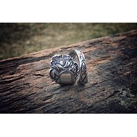 1902 Floral Poppy Sterling Spoon Ring