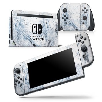 Blue and Black Grunge Over White Marble Surface - Skin Wrap Decal for Nintendo Switch Lite Console & Dock - 3DS XL - 2DS - Pro - DSi - Wii - Joy-Con Gaming Controller