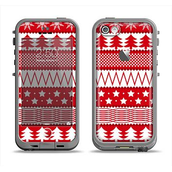 The Red and White Christmas Pattern Apple iPhone 5c LifeProof Fre Case Skin Set