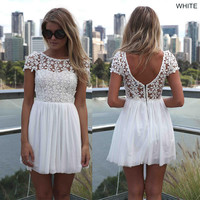 Sexy summer chiffon mini lace crochet floral hollow out dress