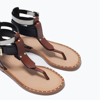 Combined flat sandals