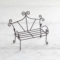 Fairy Garden Bench - Miniature Rustic Metal Wire Furniture