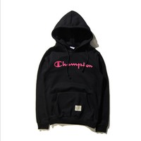 Tide brand Champion men and women couples long-sleeved hooded T-shirt plus cashmere sweater Black Tagre™