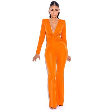 Cold Fire Orange Flared Legs Long Sleeve Jumpsuit