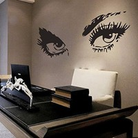 Wall Decals Makeup Girl Woman Cosmetic Eyes Fashion Vinyl Sticker Beauty Salon Home Decor Living Room Decor Art Mural Ms712