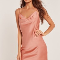 Missguided - Silky Cowl Front Cami Dress Nude