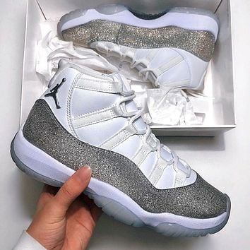 Nike Air Jordan 11 Retro Metallic Silver Sneakers Shoes