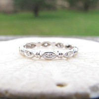 Platinum Diamond Eternity Wedding Band, Charming Design with Small Sparkly Diamonds, Slender Wedding Ring or Stacking Band, Circa 1930s